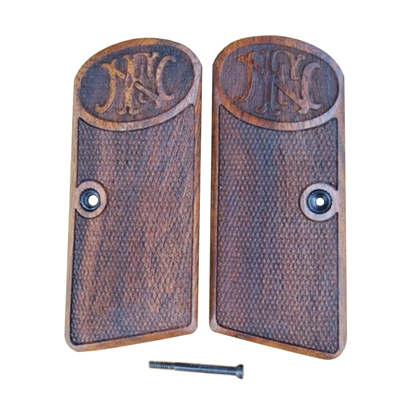 Browning Fn 1910 Wood Grips (Checkered With Logo)