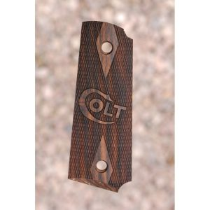 Colt 1911 Wood Grips (Checkered With Logo)