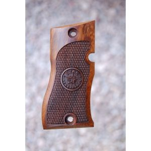 Star Dk Wood Grips (Checkered With Logo)