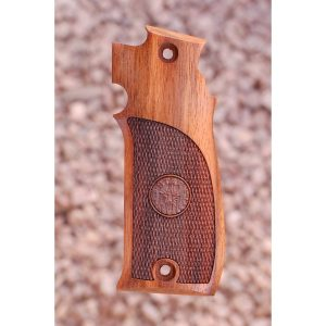 Star Model S-Series Wood Grips (Checkered With Logo)